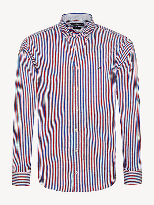 TOMMY HILFIGER Stripe Oxford Shirt - HAUTE RED / MULTI - TOMMY HILFIGER Sustainable Evolution - main image
