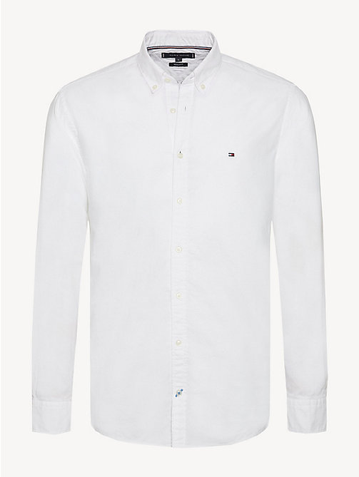 TOMMY HILFIGER Sandwashed Cotton Oxford Shirt - BRIGHT WHITE - TOMMY HILFIGER Casual Shirts - main image