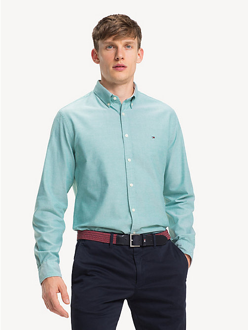 TOMMY HILFIGER Sandwashed Cotton Oxford Shirt - ULTRAMARINE GREEN - TOMMY HILFIGER Casual Shirts - detail image 1