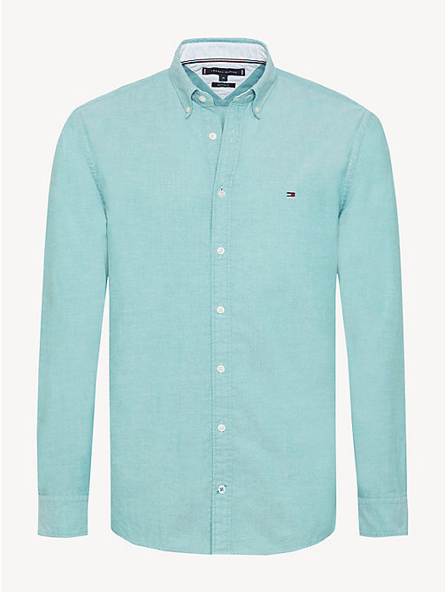 TOMMY HILFIGER Sandwashed Cotton Oxford Shirt - ULTRAMARINE GREEN - TOMMY HILFIGER Casual Shirts - main image