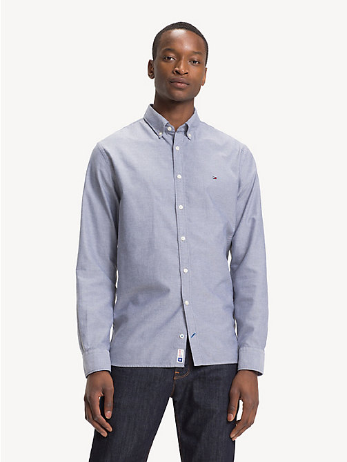 TOMMY HILFIGER Sandwashed Cotton Oxford Shirt - BLACK IRIS - TOMMY HILFIGER Casual Shirts - detail image 1
