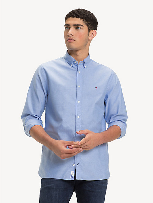 TOMMY HILFIGER Sandwashed Cotton Oxford Shirt - SHIRT BLUE - TOMMY HILFIGER Casual Shirts - detail image 1
