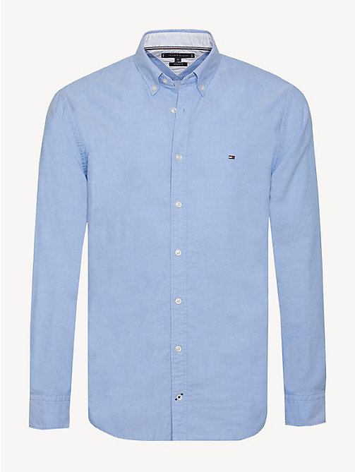 TOMMY HILFIGER Sandwashed Cotton Oxford Shirt - SHIRT BLUE - TOMMY HILFIGER Casual Shirts - main image