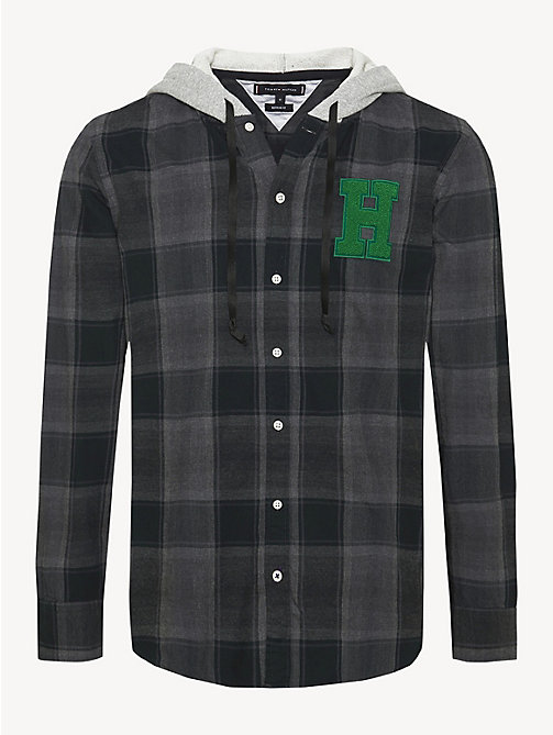 TOMMY HILFIGER Plaid Check Hooded Shirt - MAGNET / MULTI - TOMMY HILFIGER NEW IN - main image