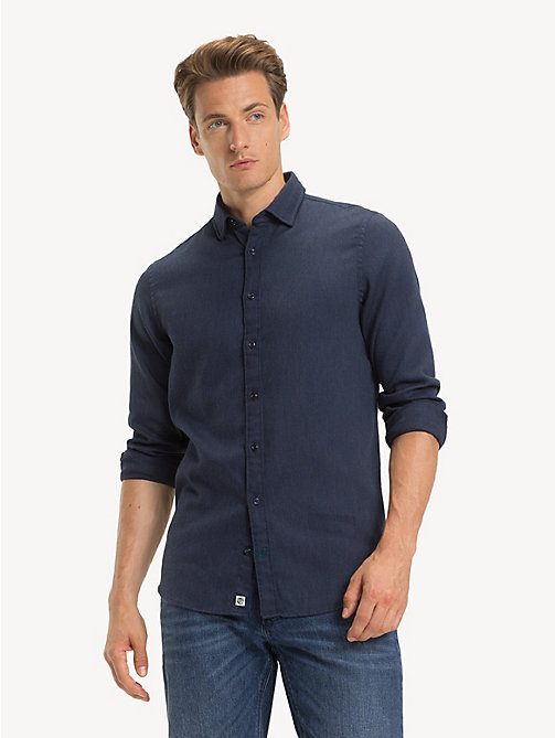 TOMMY HILFIGER Pure Cotton Slim Fit Shirt - BLACK IRIS HTR / SKY CAPTAIN - TOMMY HILFIGER NEW IN - detail image 1