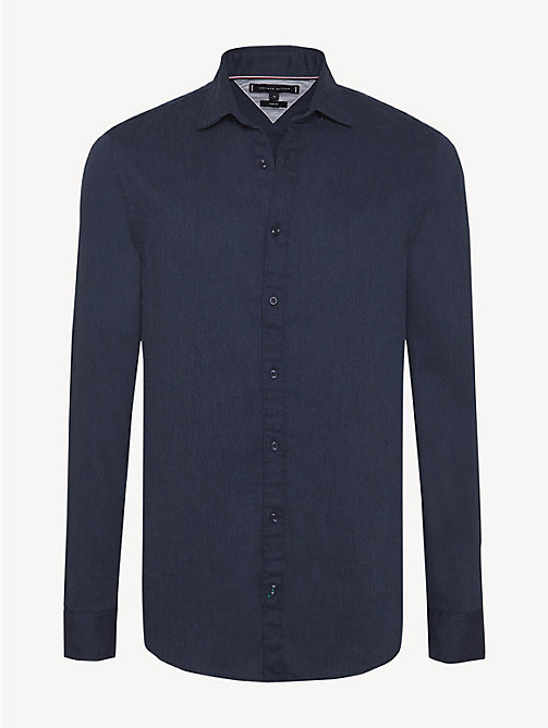 TOMMY HILFIGER Pure Cotton Slim Fit Shirt - BLACK IRIS HTR / SKY CAPTAIN - TOMMY HILFIGER NEW IN - main image