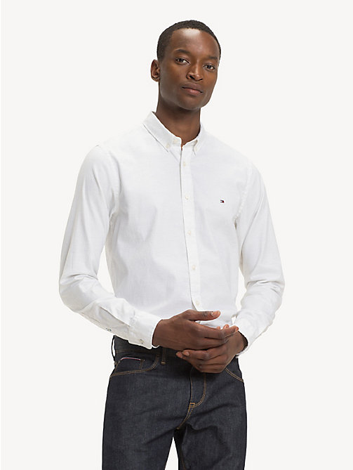 TOMMY HILFIGER Pure Cotton Slim Fit Shirt - SNOW WHITE HEATHER - TOMMY HILFIGER Casual Shirts - detail image 1