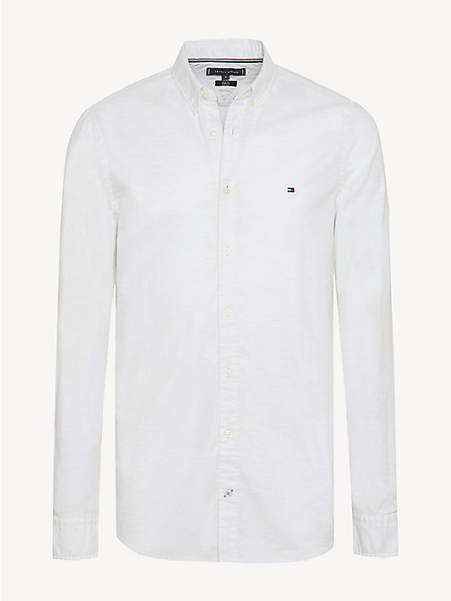 TOMMY HILFIGER Pure Cotton Slim Fit Shirt - SNOW WHITE HEATHER - TOMMY HILFIGER Casual Shirts - main image