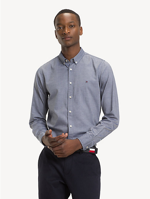 TOMMY HILFIGER Pure Cotton Slim Fit Shirt - BLACK IRIS HEATHER - TOMMY HILFIGER NEW IN - detail image 1