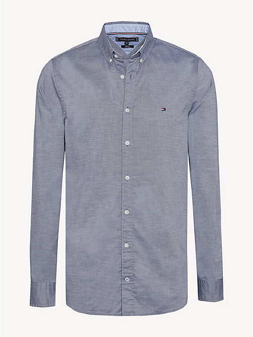 TOMMY HILFIGER Pure Cotton Slim Fit Shirt - BLACK IRIS HEATHER - TOMMY HILFIGER NEW IN - main image