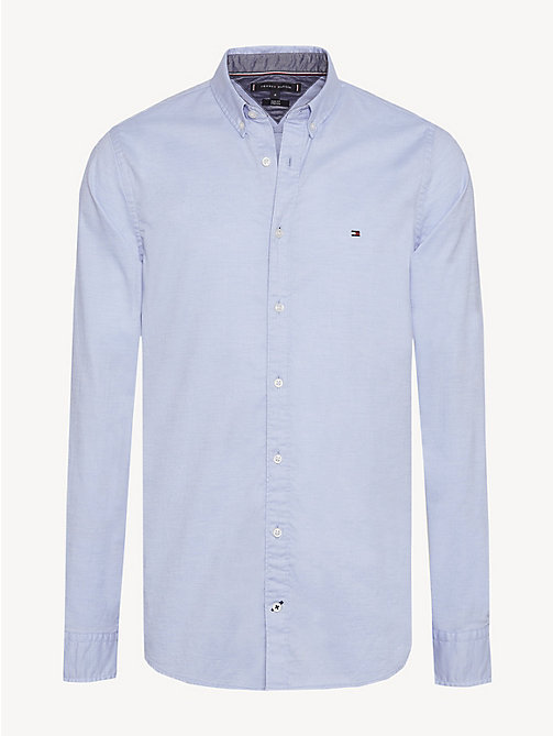 TOMMY HILFIGER Pure Cotton Slim Fit Shirt - SHIRT BLUE HEATHER - TOMMY HILFIGER Casual Shirts - main image