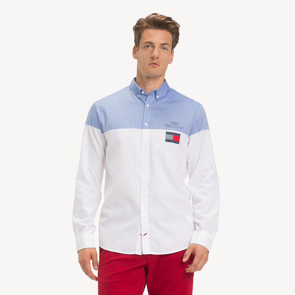 Tommy Hilfiger - Camisa de puro algodón con diseño color block - 2