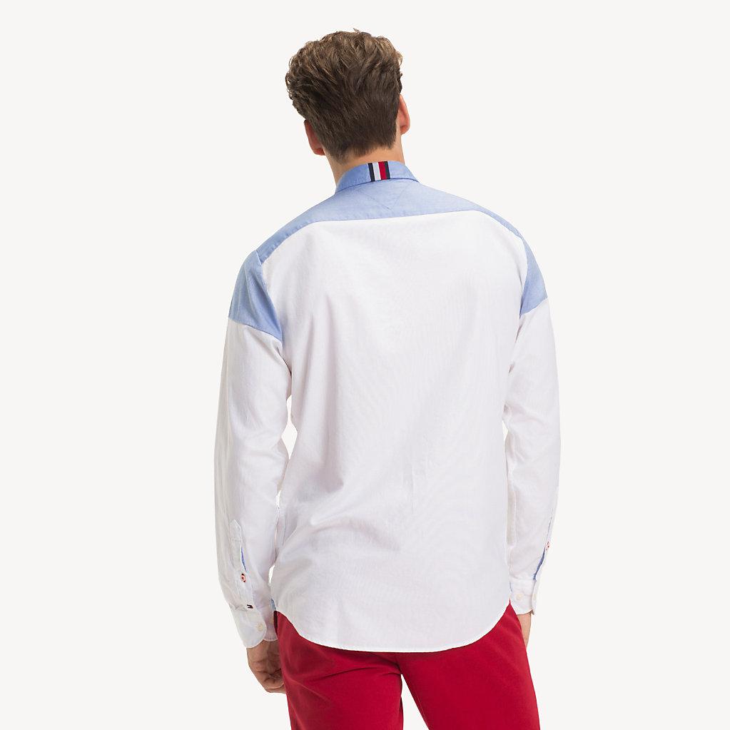 Tommy Hilfiger - Camisa de puro algodón con diseño color block - 3