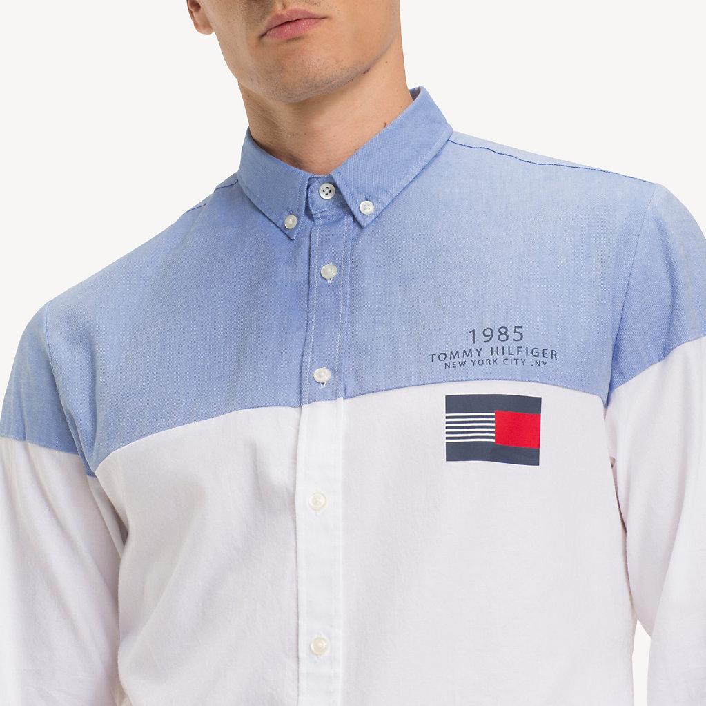 Tommy Hilfiger - Camisa de puro algodón con diseño color block - 4