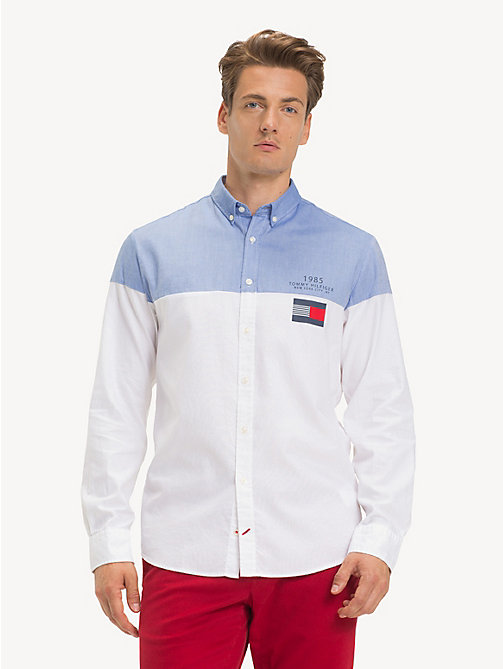 TOMMY HILFIGER Pure Cotton Colour-Blocked Shirt - SHIRT BLUE / BRIGHT WHITE - TOMMY HILFIGER NEW IN - detail image 1