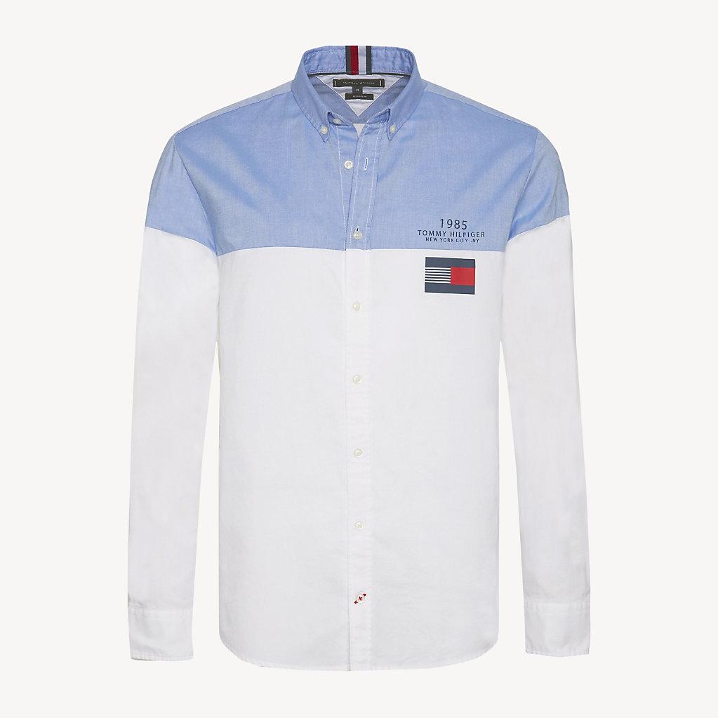 Tommy Hilfiger - Camisa de puro algodón con diseño color block - 1