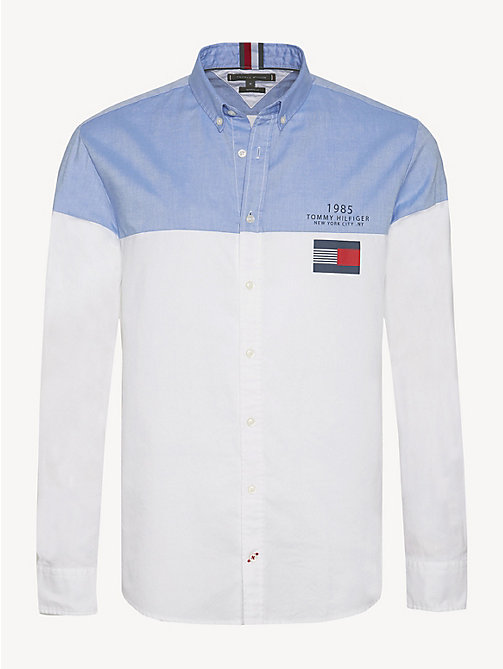 TOMMY HILFIGER Pure Cotton Colour-Blocked Shirt - SHIRT BLUE / BRIGHT WHITE - TOMMY HILFIGER NEW IN - main image