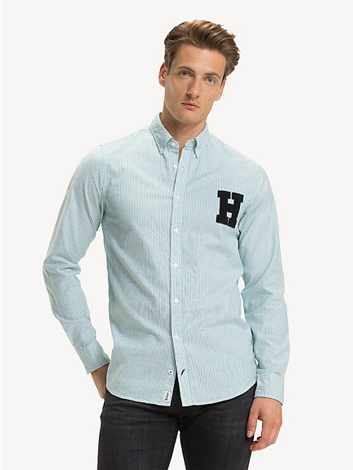 TOMMY HILFIGER Slim Fit Hemd aus Stretch-Baumwolle - ULTRAMARINE GREEN / BRIGHT WHITE - TOMMY HILFIGER Sustainable Evolution - main image 1