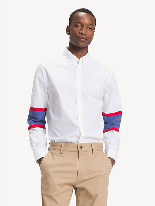 TOMMY HILFIGER Colour-blocked overhemd in ijshockeystijl - BRIGHT WHITE - TOMMY HILFIGER Sustainable Evolution - detail image 1
