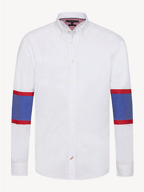 TOMMY HILFIGER Colour-blocked overhemd in ijshockeystijl - BRIGHT WHITE - TOMMY HILFIGER Sustainable Evolution - main image