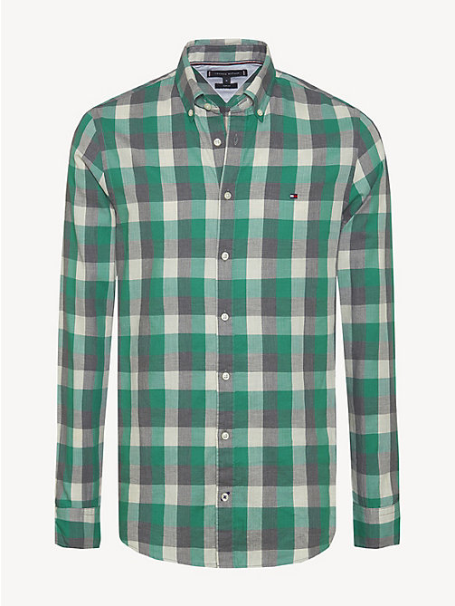 TOMMY HILFIGER Pure Cotton Slim Fit Shirt - ULTRAMARINE GREEN / MULTI - TOMMY HILFIGER NEW IN - main image