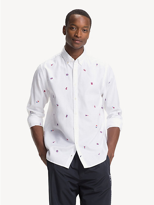 TOMMY HILFIGER Chemise brodée en pur coton - BRIGHT WHITE / MULTI - TOMMY HILFIGER Sustainable Evolution - image détaillée 1