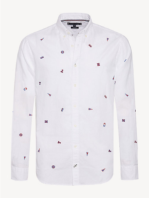 TOMMY HILFIGER Pure Cotton Embroidery Shirt - BRIGHT WHITE/MULTI - TOMMY HILFIGER Sustainable Evolution - main image
