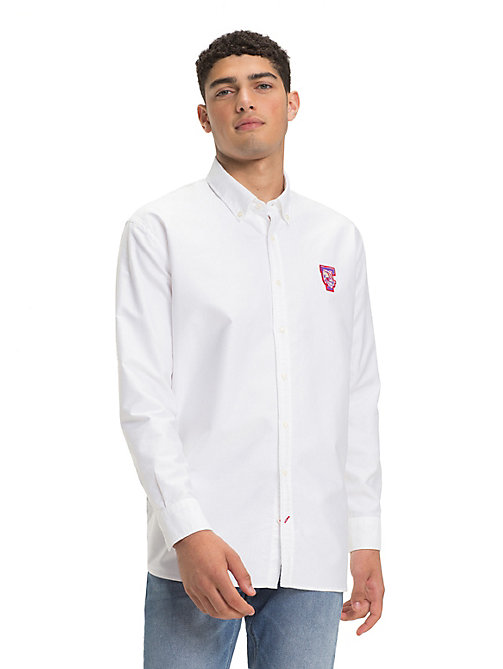 TOMMY HILFIGER Chemise Oxford à mascotte en pur coton - BRIGHT WHITE - TOMMY HILFIGER Sustainable Evolution - image détaillée 1