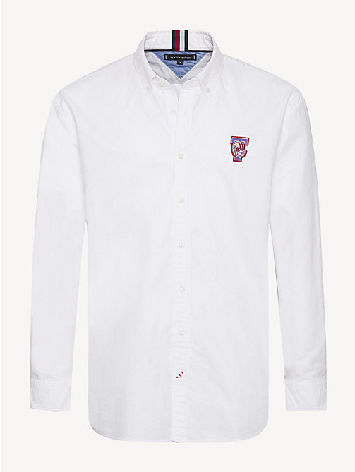 TOMMY HILFIGER Oxford-overhemd met mascotte - BRIGHT WHITE - TOMMY HILFIGER Sustainable Evolution - main image
