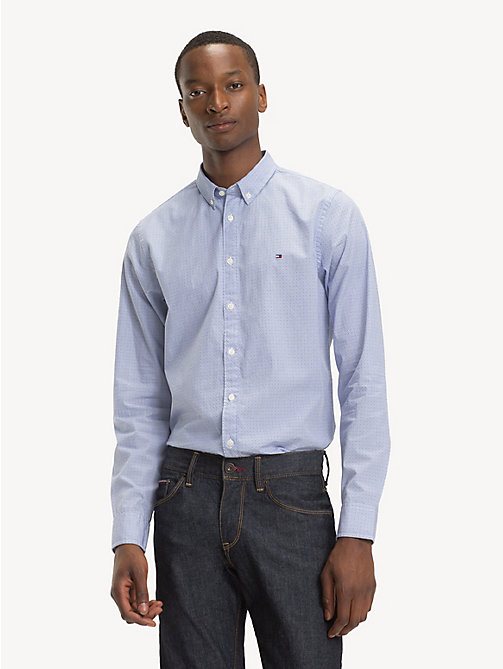 TOMMY HILFIGER Slim Fit Pure Cotton Shirt - MAZARINE BLUE / BRIGHT WHITE - TOMMY HILFIGER Casual Shirts - detail image 1