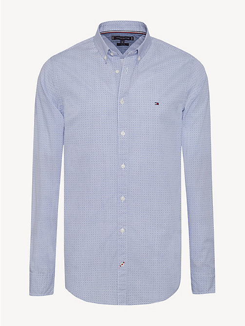 TOMMY HILFIGER Slim Fit Pure Cotton Shirt - MAZARINE BLUE / BRIGHT WHITE - TOMMY HILFIGER Casual Shirts - main image