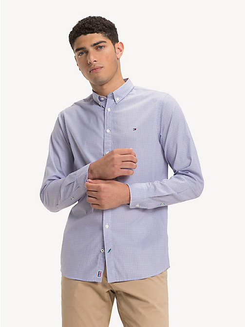 TOMMY HILFIGER Slim Fit Pure Cotton Shirt - PARACHUTE PURPLE / BRIGHT WHITE - TOMMY HILFIGER Casual Shirts - detail image 1