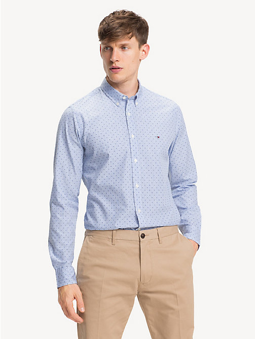 TOMMY HILFIGER Pure Cotton Slim Fit Pinstripe Shirt - SHIRT BLUE HTR / MULTI - TOMMY HILFIGER Casual Shirts - detail image 1