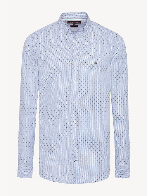 TOMMY HILFIGER Pure Cotton Slim Fit Pinstripe Shirt - SHIRT BLUE HTR / MULTI - TOMMY HILFIGER Casual Shirts - main image