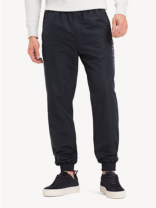 TOMMY HILFIGER Cuffed Ankle Logo Joggers - JET BLACK - TOMMY HILFIGER NEW IN - main image