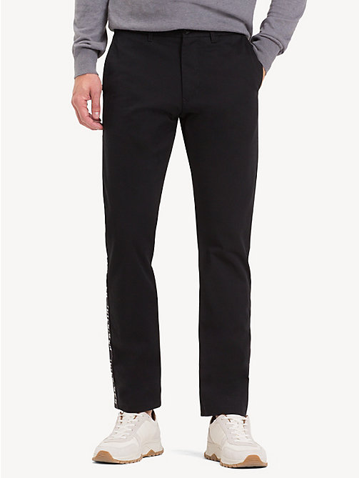 TOMMY HILFIGER Pure Cotton Logo Tape Chinos - JET BLACK - TOMMY HILFIGER Chinos - main image