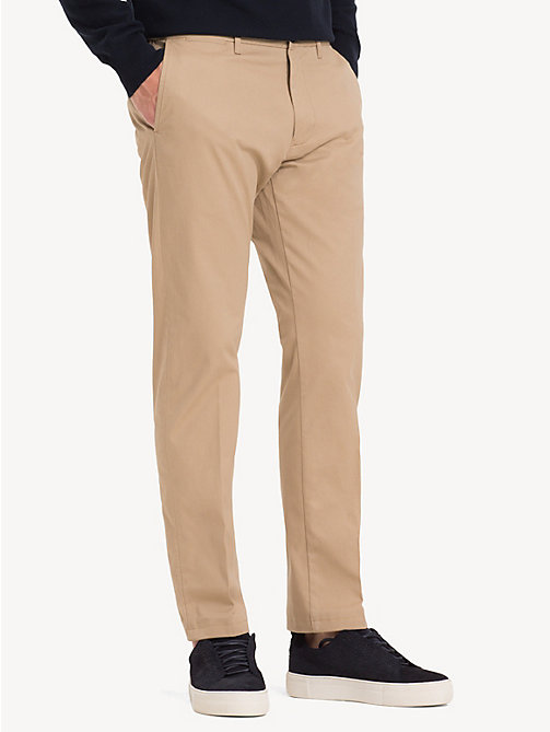 TOMMY HILFIGER Fitted Stretch Cotton Chinos - BATIQUE KHAKI - TOMMY HILFIGER NEW IN - main image