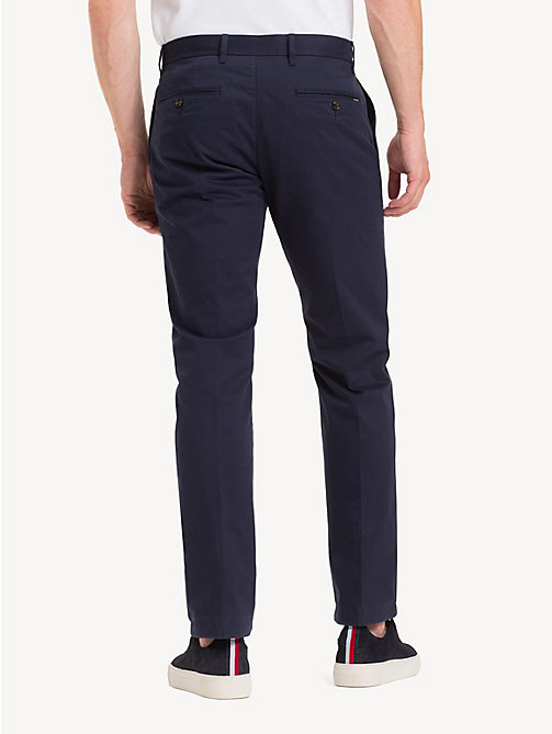 TOMMY HILFIGER Fitted Stretch Cotton Chinos - SKY CAPTAIN - TOMMY HILFIGER Chinos - detail image 1