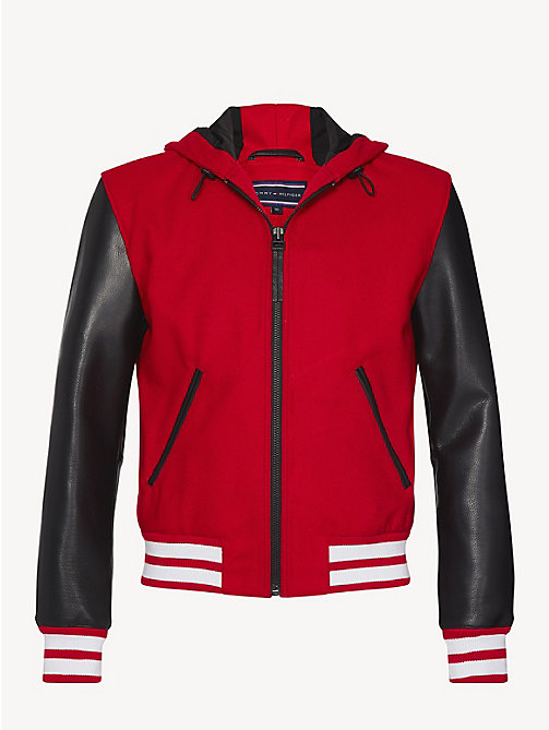 TOMMY HILFIGER Hooded Leather Varsity Jacket - GOJI BERRY - TOMMY HILFIGER NEW IN - detail image 1