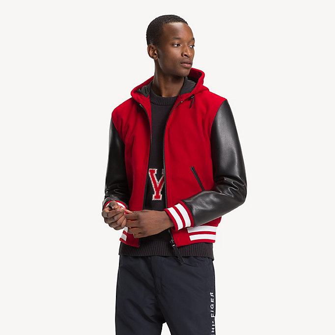 Varsity Hooded Hilfiger Tommy Jacket Leather 4xTU5qv
