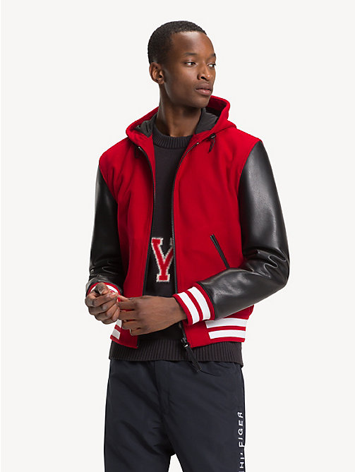 TOMMY HILFIGER Hooded Leather Varsity Jacket - GOJI BERRY - TOMMY HILFIGER Jackets - main image