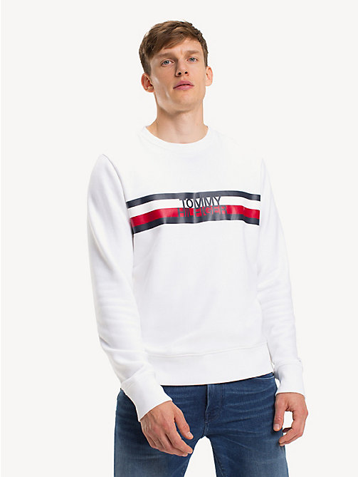 TOMMY HILFIGER Sweat à logo colour-block - BRIGHT WHITE - TOMMY HILFIGER NOUVEAUTÉS - image principale