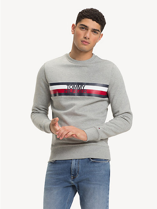 TOMMY HILFIGER Colour-Blocked Logo Sweatshirt - CLOUD HTR - TOMMY HILFIGER Sweatshirts - main image