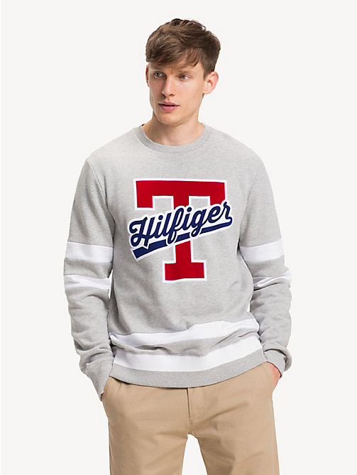 TOMMY HILFIGER Pure Cotton Monogram Logo Sweatshirt - CLOUD HTR - TOMMY HILFIGER NEW IN - main image