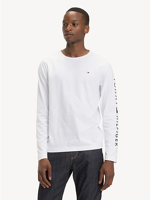 TOMMY HILFIGER Long-Sleeve Cotton T-Shirt - BRIGHT WHITE - TOMMY HILFIGER Sustainable Evolution - main image