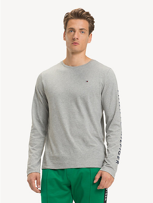 TOMMY HILFIGER Long-Sleeve Cotton T-Shirt - CLOUD HTR - TOMMY HILFIGER Sustainable Evolution - main image