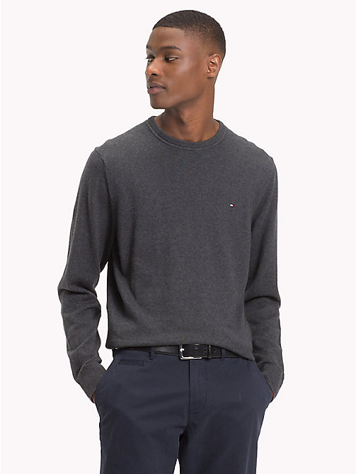 TOMMY HILFIGER Big & Tall Crew Neck Pullover - CHARCOAL HTR - TOMMY HILFIGER Jumpers - main image