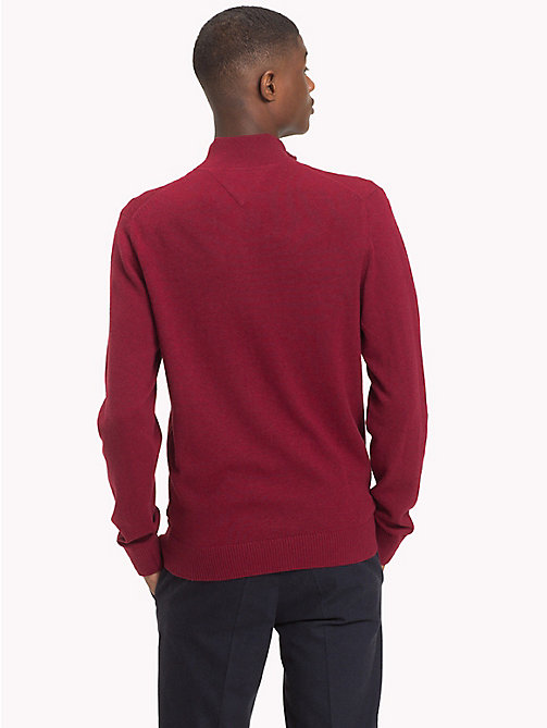 TOMMY HILFIGER Big & Tall Mock Neck Cardigan - RHUBARB HEATHER - TOMMY HILFIGER Cardigans - detail image 1