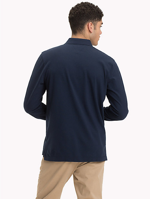 TOMMY HILFIGER Big & Tall Long Sleeve Polo Shirt - SKY CAPTAIN - TOMMY HILFIGER Polo Shirts - detail image 1