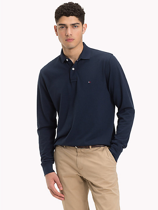 TOMMY HILFIGER Big & Tall Long Sleeve Polo Shirt - SKY CAPTAIN - TOMMY HILFIGER Polo Shirts - main image